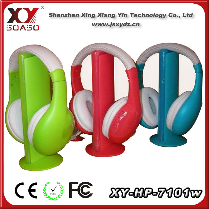 colorful wireless headphone support tf card for tv fm pc mobilephone mp3 cd