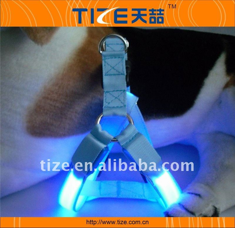 Blue lighted led dog harness dogs collars and harnesses dog harness wholesale TZ-PET1313