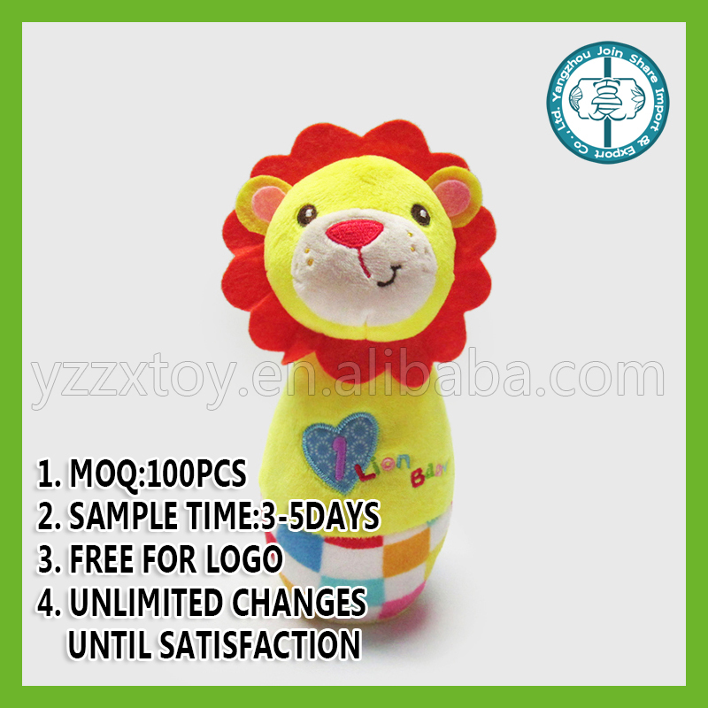Roll Up Roll Up mini stuffed lion toy Stick Rattle Toy for baby