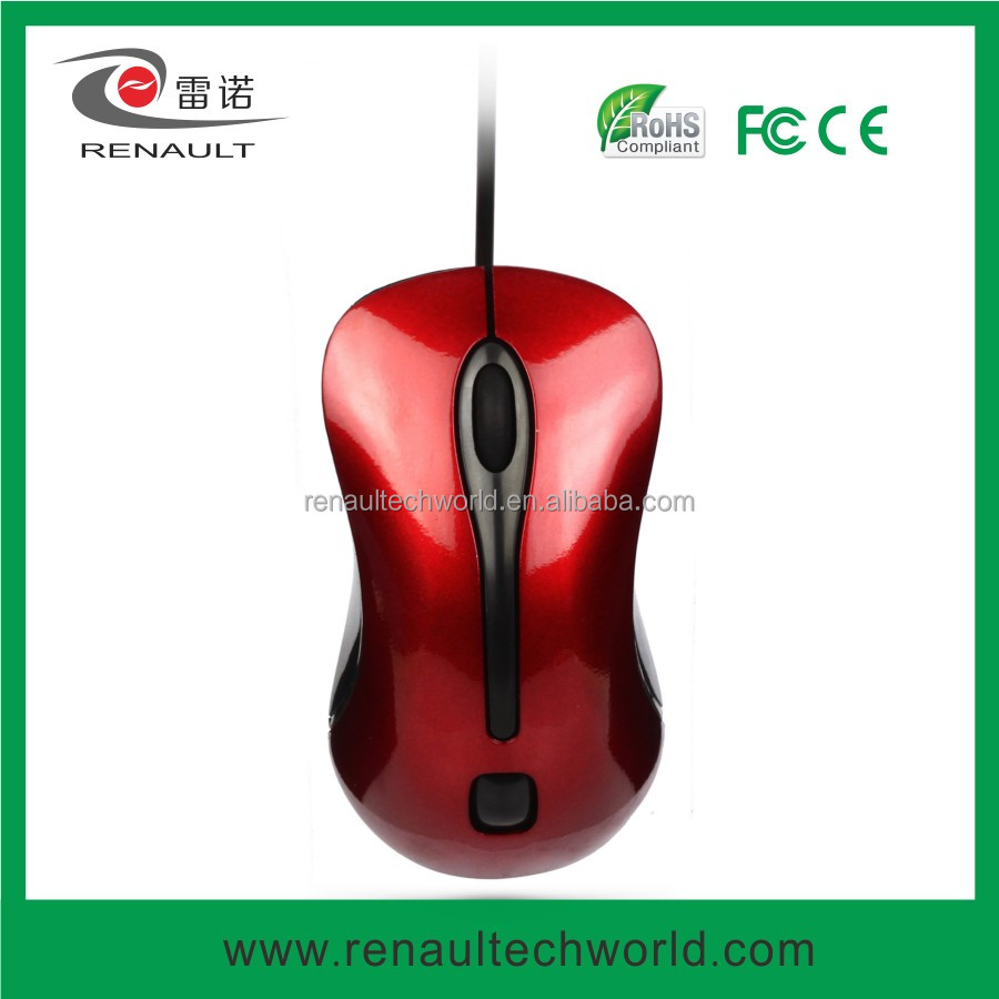 Cola red shining mini wired optical mouse
