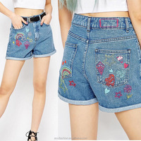 OEM service China factory fashion embroidered flower new pattern modle ladies short jeans pants