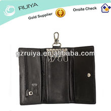Black Stylish Leather Key Holder Wallet Key Ring Case Wallet with SD Card Slot and Zipped Pocket for Mens