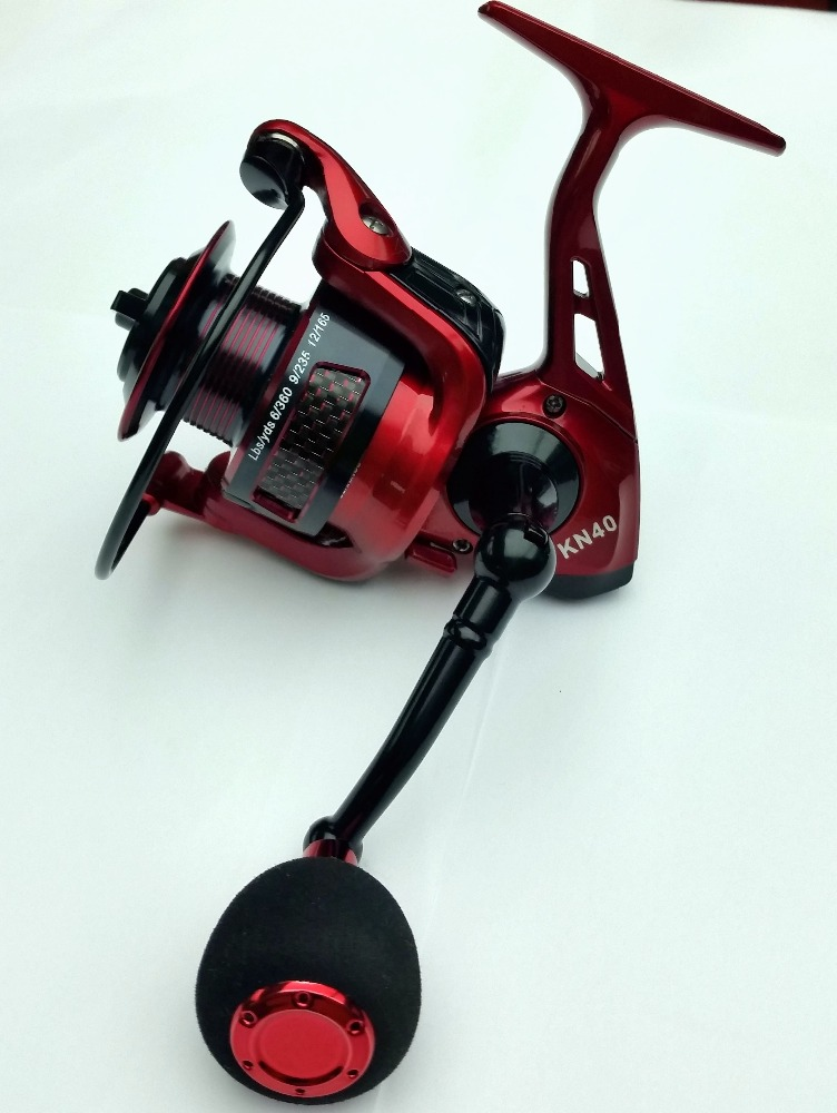 High quality fishing tackle spinning reel with red Aluminium spool fishing reel