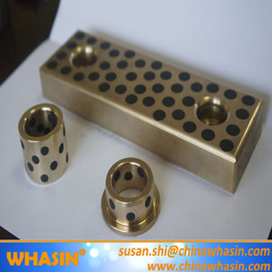 JSP Bronze Sliding Pad Cast Bronze Bush Solid Metal High-stress Brass Bearing Graphite Plugged Oiles Bushing Bearing
