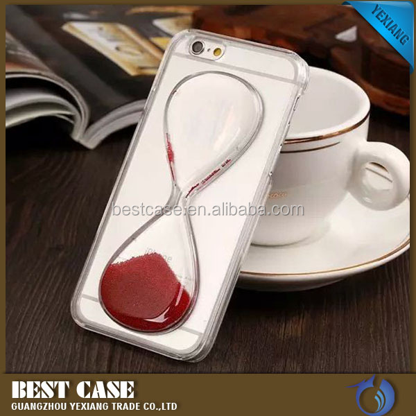 Hot new products sand clock cases for iphone5 5s, sand glass transparent plastic case cover for iphone5 5s