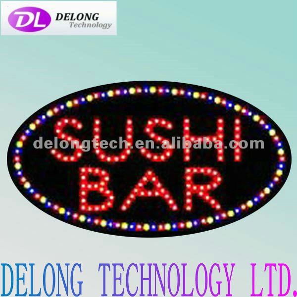 CE 68X38cm open acrylic Oval shap large lighted SuShi bar sign