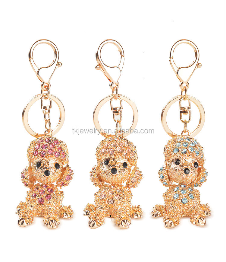 Fashion Korea Style Rhinestone Poodle Pendant Keychain For Women's Gift Gold Plated Dog Keyrings Wholesale