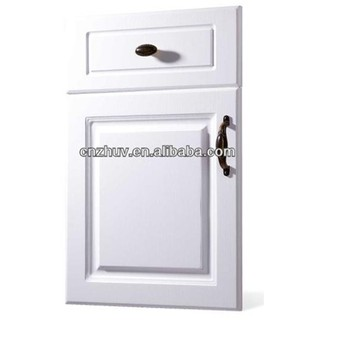 Pvc pp wood veneer paper al overlaid mdf wrapping kitchen for Buy white kitchen cabinet doors
