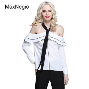 95dfcc8368c76 Maxnegio 2018 Neck Design Off Shoulder White Long Sleeve 100%Polyester  Ladies  Blouses