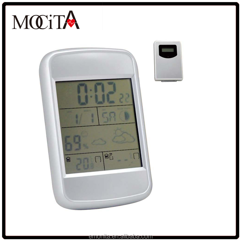 Durable RF 433 MHZ wireless weather station, Weather station with temperature trend clock as gift