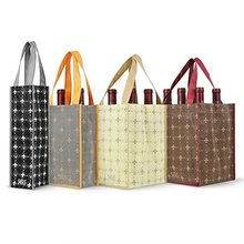 Wholesale Heavy Duty Custom Design Reusable Divided 4 Bottles / 6 Bottles Carrier Non Woven Wine Tote Bag