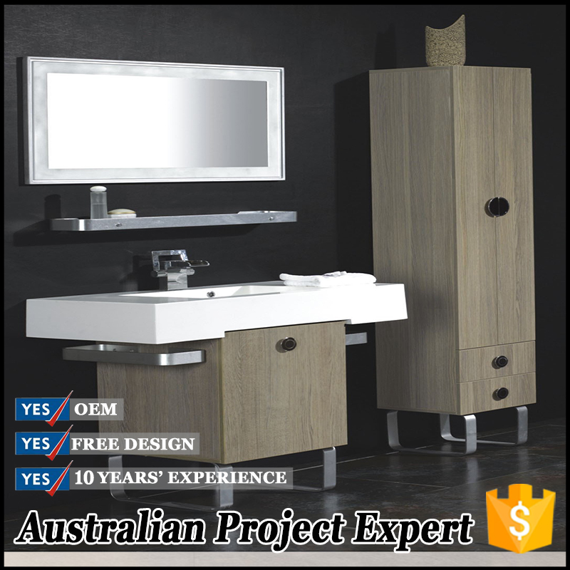 modular wood grain pvc sheet bathroom units with stainess steel table leg