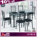 A11B-6 Round glass top dining table and 6 chairs with cheap price glass top and iron legs dining table