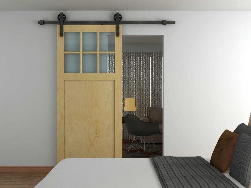 Wagon Wheel Strap Style Black Modern Spoke Barn Door