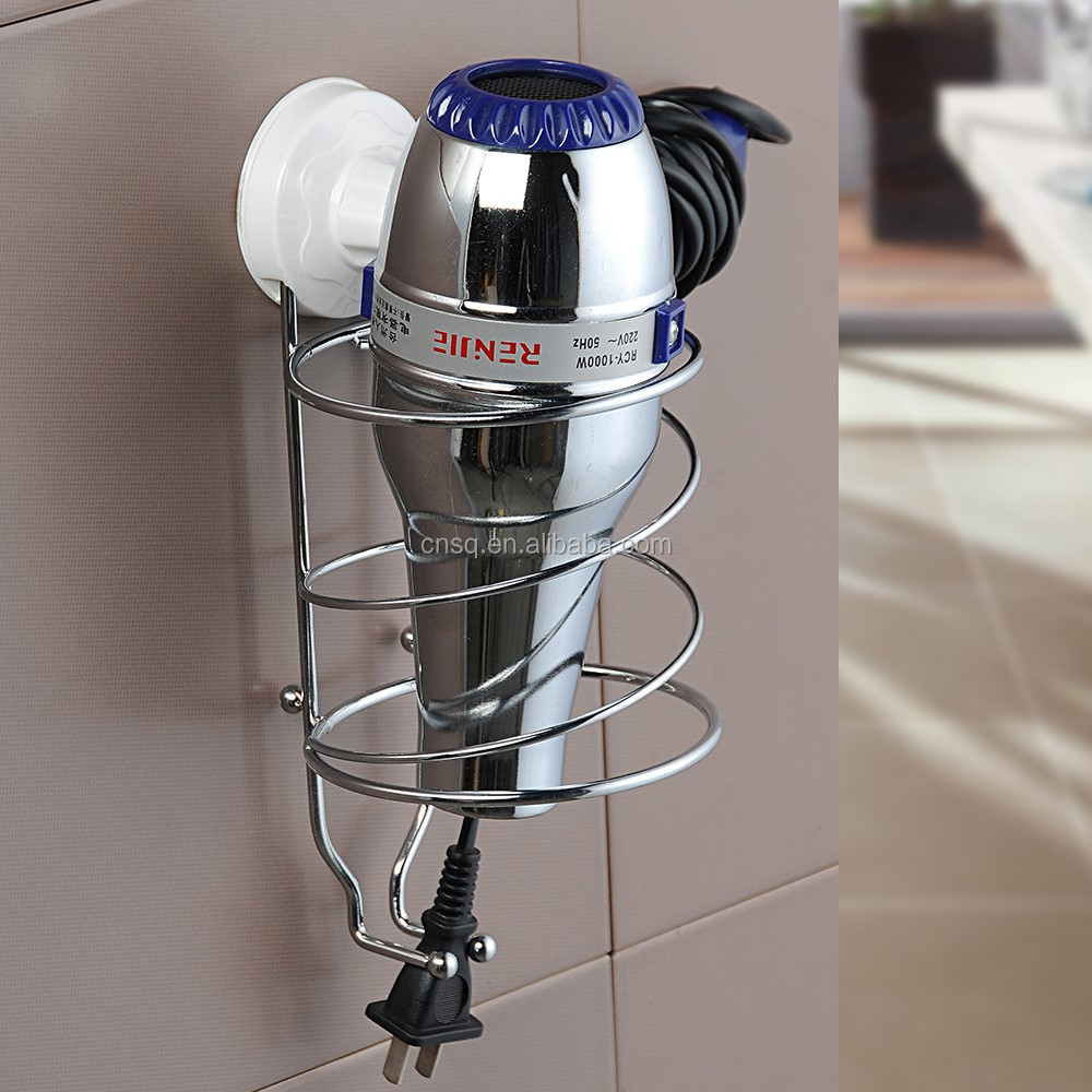 1951 SQ bathroom with suction cup wall mounted hair dryer stand holder