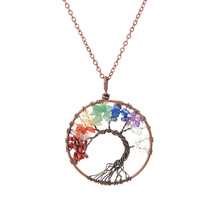 Tree of life pendant Amethyst Rose Crystal Necklace Gemstone Chakra Jewelry Christmas day Gifts