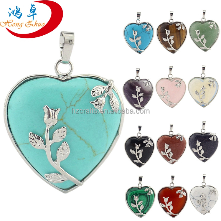 Women Charm Crystal Heart-shaped Pendant with Silver leaf