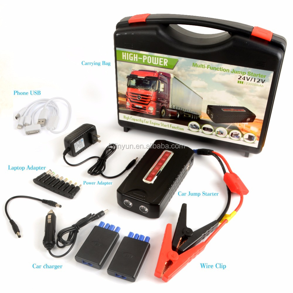 Wholesale 12V 23000mah Battery Used Portable Mutil-function Jump Starter in Diesel Car Truck