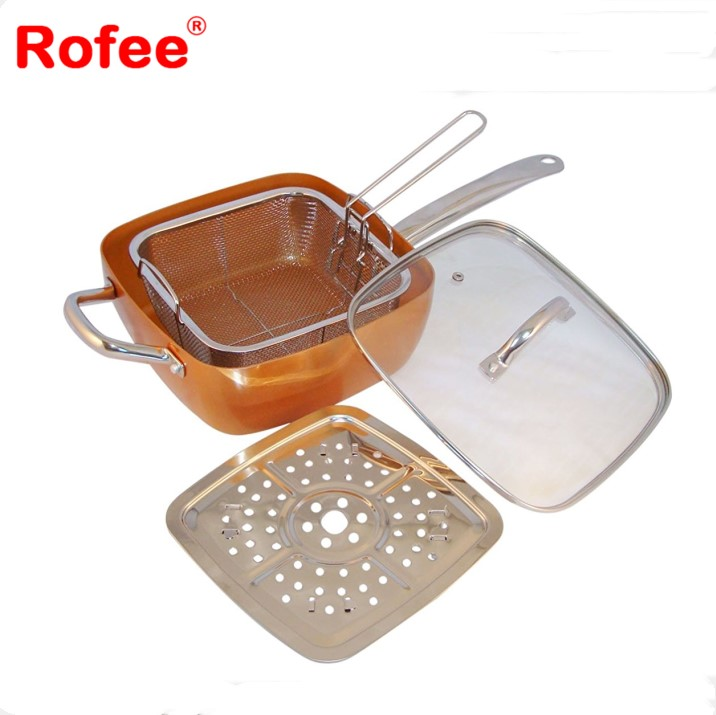 4 Piece Chef Pan with Glass Lid, Copper