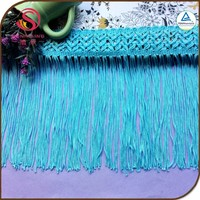Luxe rayon 8CM 100% polyester polish blue dress tassel fringe trimming