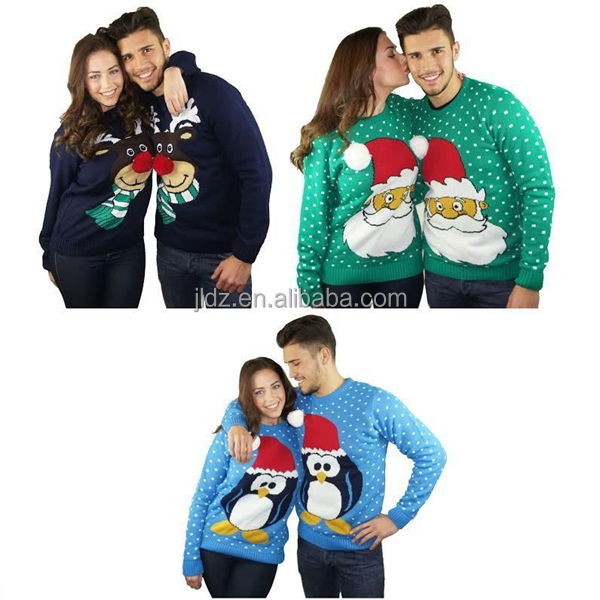 2015 fashion hand knitted Xmas novelty reindeer christmas jumpers