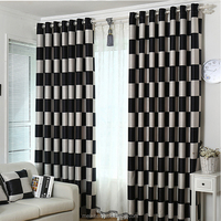 Simple Curtain Design Black And White Patterned Blackout Curtain For Curtain Fabric