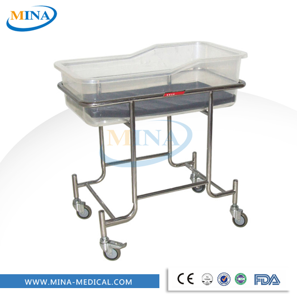 High quality stainless steel hospital cots baby crib movable childbirth table