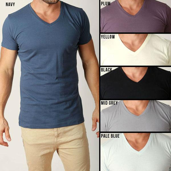 Mens Plain T Shirts Basic Tee Shirt V Shaped Neck - Buy Mens Plain ...