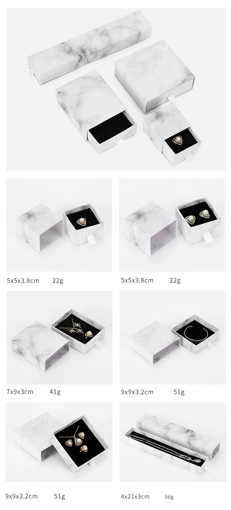 Custom Logo Cardboard Slide Marble Ring Necklace Drawer Box With Foam Velvet Insert Kraft Packaging Paper Jewelry Box