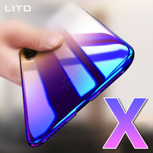 For apple iphone x phone case cover , Mirror hard pc gradual color changing mobile phone protective cases