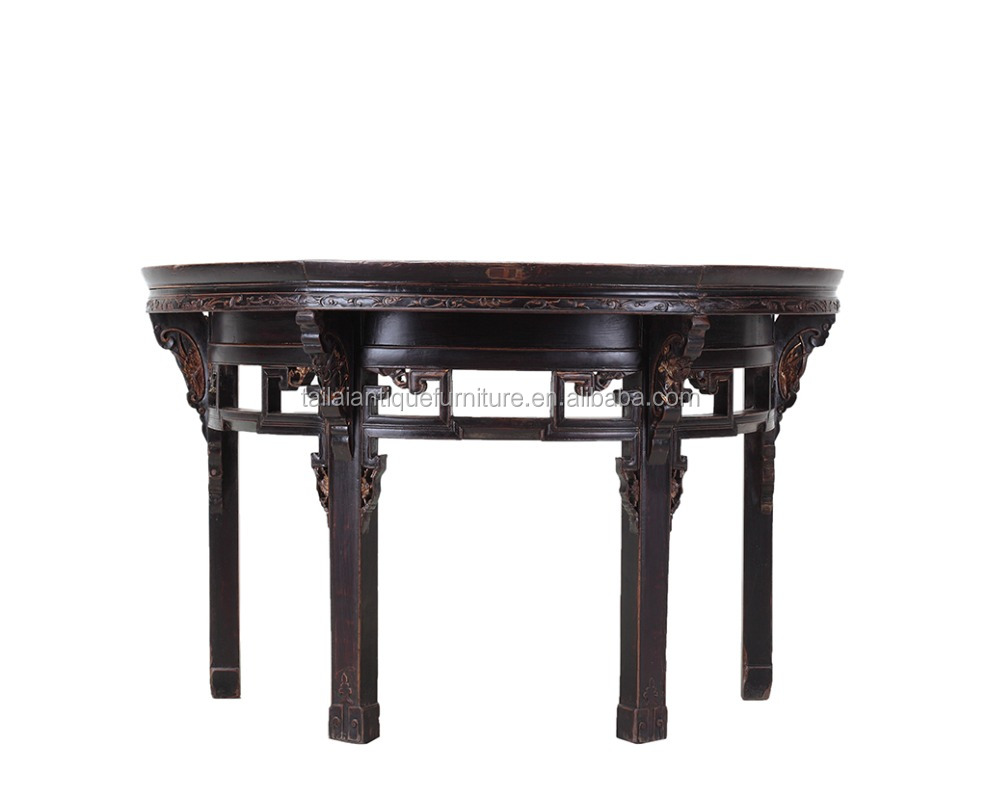 Black Half Round Antique Console Table U0026 Entryway Table Hand Made Custom  Furniture