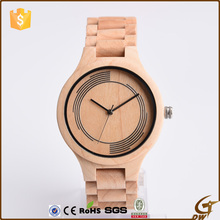 Natural Maple Wood bewell wooden wrist cheap watch