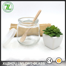 wholesale round juice bottle 250ml 8oz smoothie glass jar with wood spoon and lids