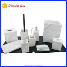 hot sale natural fancy china hotel white marble bathroom accessory set