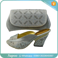 Supoo fashion african wax shoes with clutch matching shoes and bag italian shoes and bag set