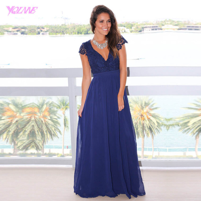 Royal Blue Long Bridesmaid Dresses Lace Chiffon Floor Length Maid of Honor Bridal Dress for Wedding