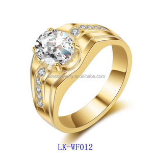 Fashion New Design Ring Jewelry 18K Gold Plated Mens Ring With White Cubic Zircon