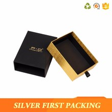 Custom gold foil stamping logo printed drawer paper box with pull-out drawer