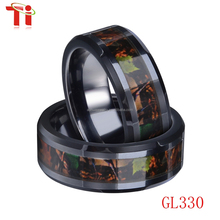 Comfort fit tree camo tungsten mens wedding band