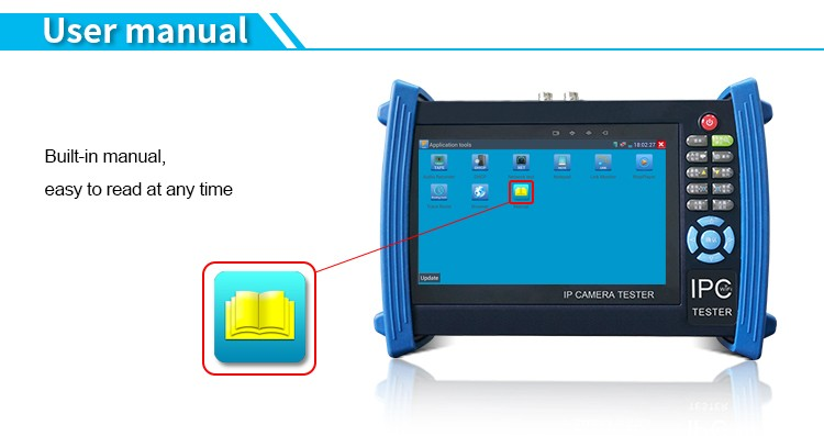 7 inch touch screen cctv security tester with PoE and TVI CVI AHD test