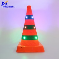 LED Flashing Safety Lighted Collapsible Traffic Safety Cone