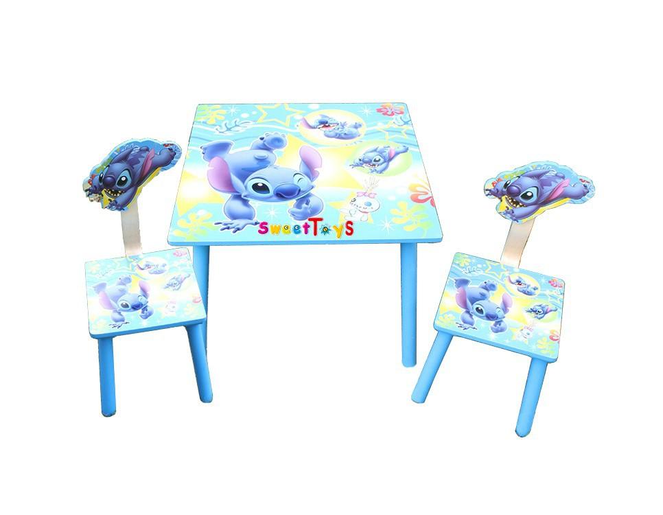 Stitch cartoon kinderen leren bureau houten stoelen tafel en twee stoelen kinderen tabellen - Houten bureau voor kinderen ...