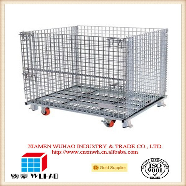 Galvanized mesh wire storage cage with Open Fronted Steel Pallets of collapsible mesh crate