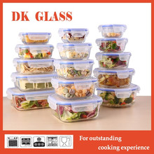 Hot Microwave Oven High Borosilicate Glass Food Storage Container With Airtight Lid /Glass Lunch Box With Vent Lock Lid