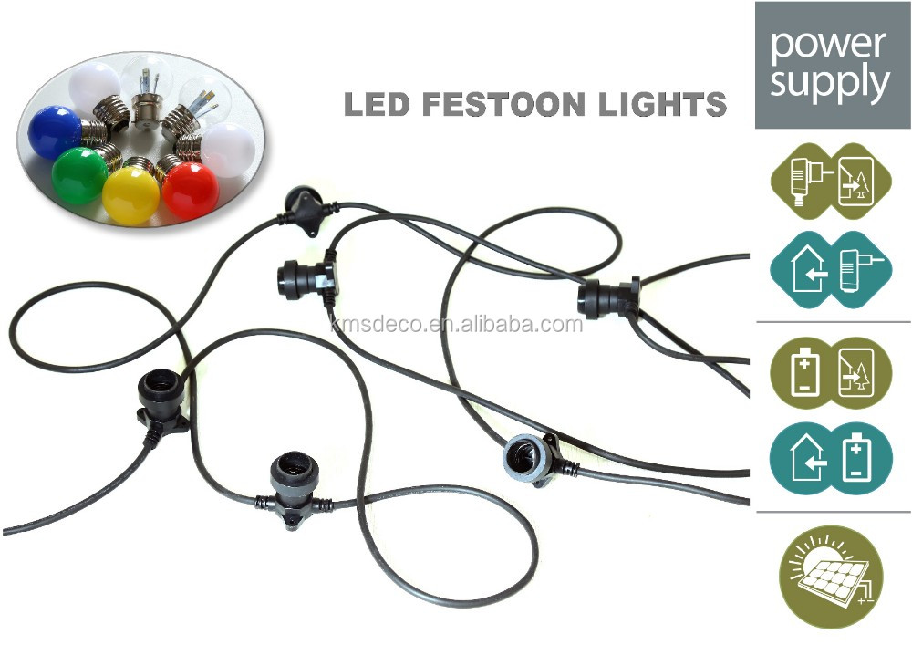 Main voltage festoon light E27/B22 sockets, extension rubber cable