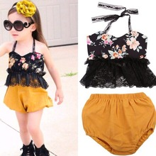 2017 New Summer Hot Style Europe foreign trade new strap lace shirt cotton shorts 2pcs