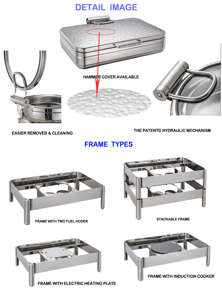 Hammer design 18/10 Stainless Steel electric buffet food warmer chafing dish