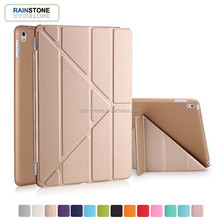 2 in 1 PU leather clear PC smart case for ipad 4 skin cover