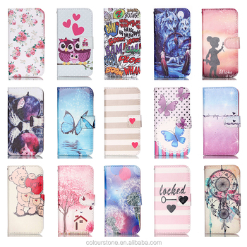 Wholesale new design colorful painted wallet leather case for Samsung S7,custom patterns leather holster for Samsung S7