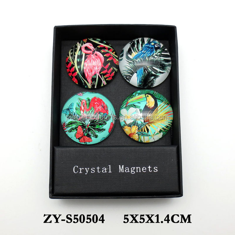 wholesale small round glass fridge magnet for souvenir